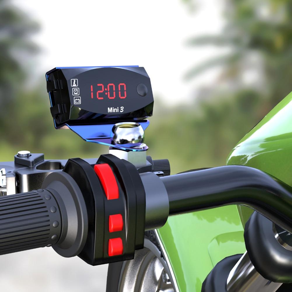 Универсальный мотоцикл электронные часы термометр Вольтметр «Три в одном» IP67 Водонепроницаемый пыленепроницаемый светодиодный часы цифр...