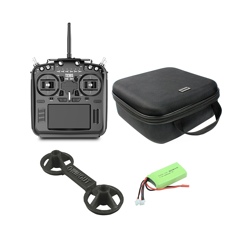 TX18S جهاز تحكم عن بعد مع نظام RF متعدد البروتوكولات ، جهاز إرسال راديو OpenTX مع حقيبة