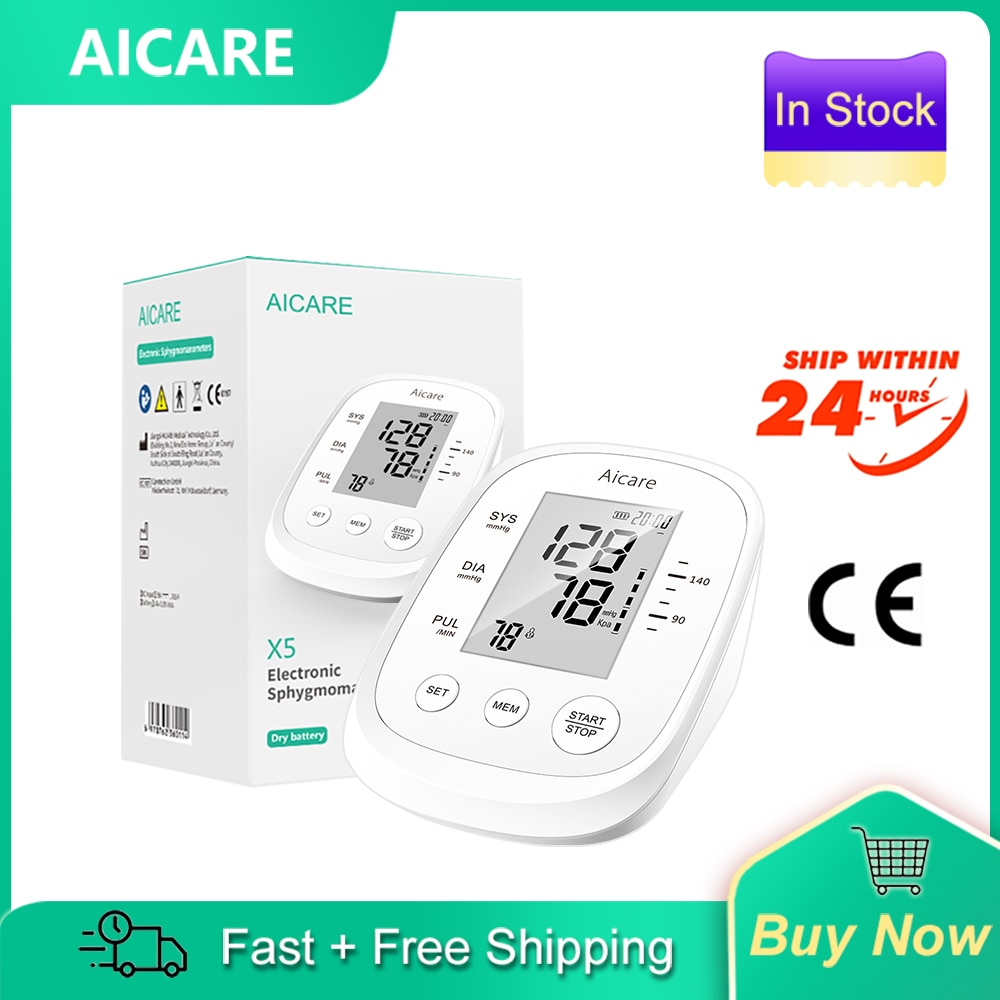 AICARE Electronic Sphygmomanometer Blood Pressure Monitor Cuff for Upper Arm Pressure Meter Home Hea
