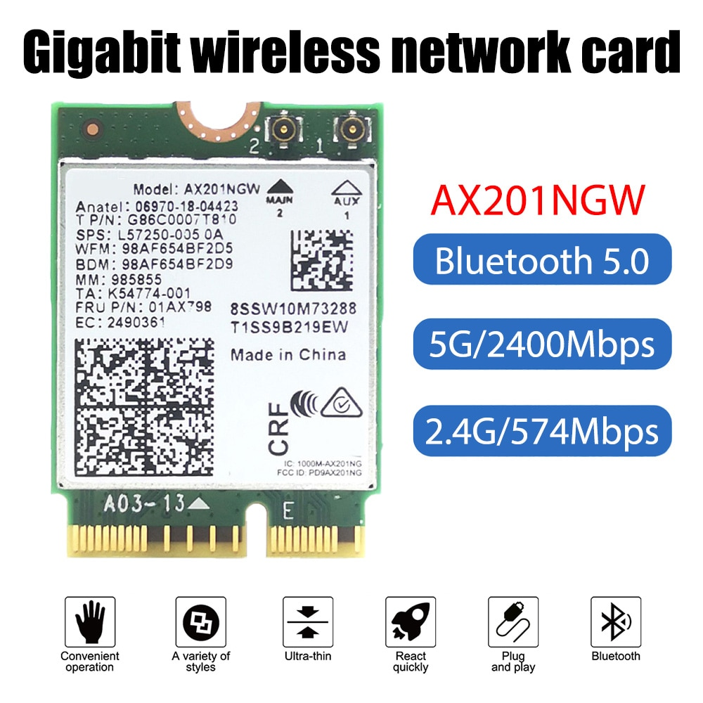 AX201NGW WIFI6 جيجابت M.2 NGFF 2.4Gbps اللاسلكية Wlan واي فاي بطاقة دعم بلوتوث 5.0 Wlan بطاقة ويندوز 10*64 بت