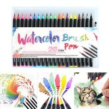 20 pièces couleurs Art marqueur aquarelle pinceau stylos pour fournitures scolaires papeterie dessin coloriage livres Manga calligraphie