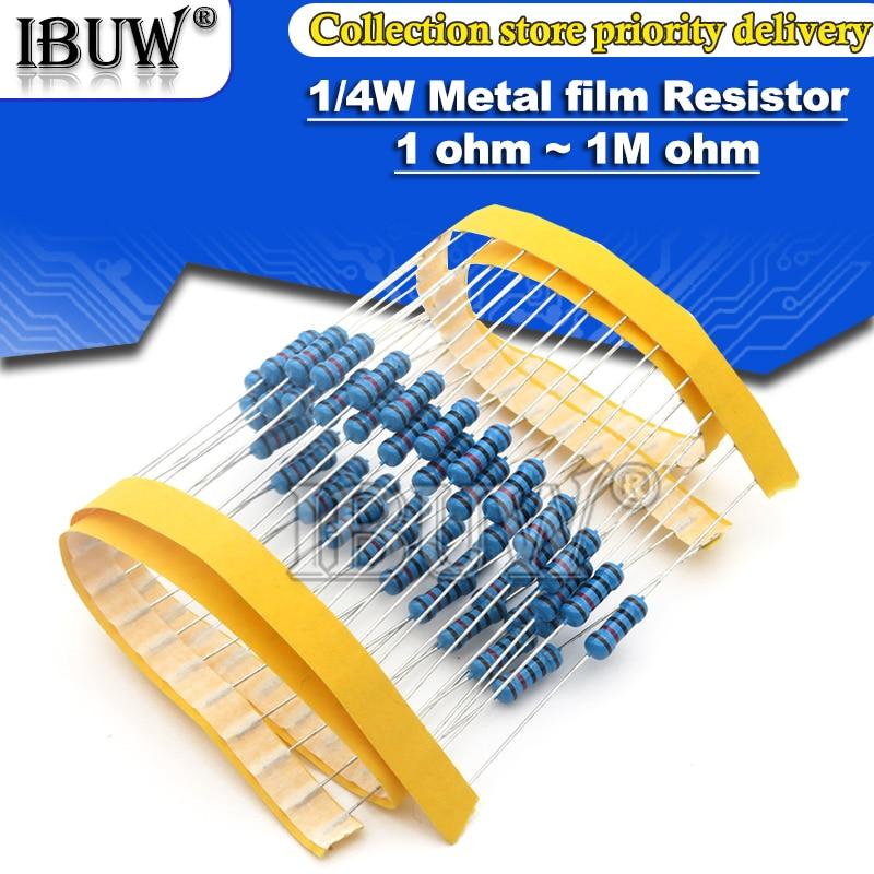 100 Uds 1/4W resistencia de película de Metal 1R ~ 22M 1% 100R 220R 1K 1,5 K 2,2 K 4,7 K 10K 22K 47K 100K 100 de 220 1K5 2K2 4K7 ohm resistencia