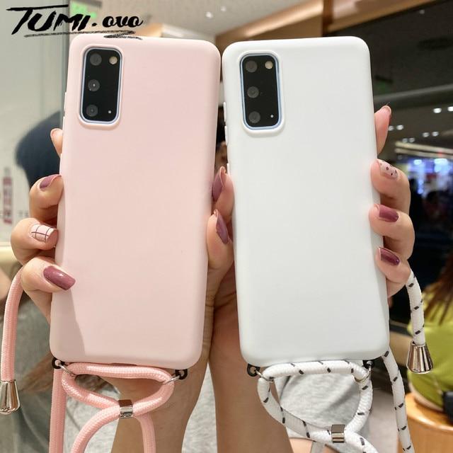 Candy Chain Lanyard Case For Samsung Galaxy A51 A71 A01 A11 A21S A31 A41 A20 A50 A70 S20 Ultra S10 S9 S8 Plus Note 10 Lite Cover