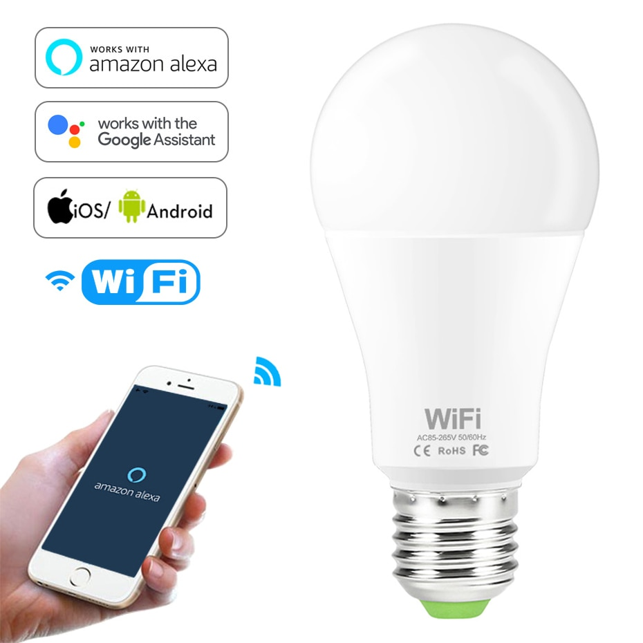 Dimmable 15W B22 E27 WiFi Smart Light Bulb LED Lamp App Operate Alexa Google Assistant Control Wake up Smart Lamp Night Light