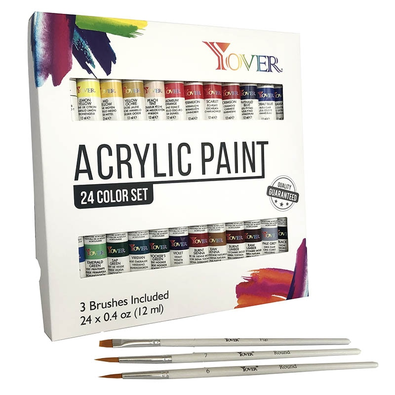 YOVER Acrylic Paints 24 Colors Professional Brush Set 12ml Tubes Artist Drawing Painting Pigment Hand Painted Wall Paint DIY