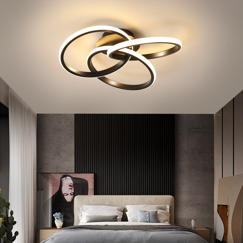 جديد الحديثة LED أضواء السقف لغرفة المعيشة غرفة نوم غرفة الدراسة الذهبي الأسود سطح شنت AC85-265V السقف مصباح ديكو