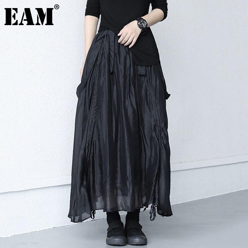 [EAM] عالية مرونة الخصر الأسود بطريقتين ارتداء شبكة طويلة نصف الجسم تنورة المرأة الموضة المد جديد ربيع الخريف 2021 1DD9450