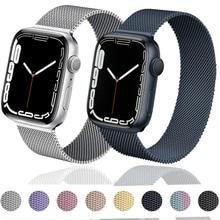 Correa de metal para Apple watch, banda de 44mm, 40mm, 38mm, 42mm, accesorios para iWatch serie 4 3 SE 6 7 45mm 41mm