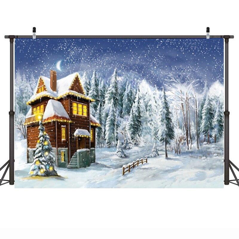 Рождественский зимний Снежный фон для фотостудии Рождественская елка лес Новорожденный ребенок портрет фон для фотостудии