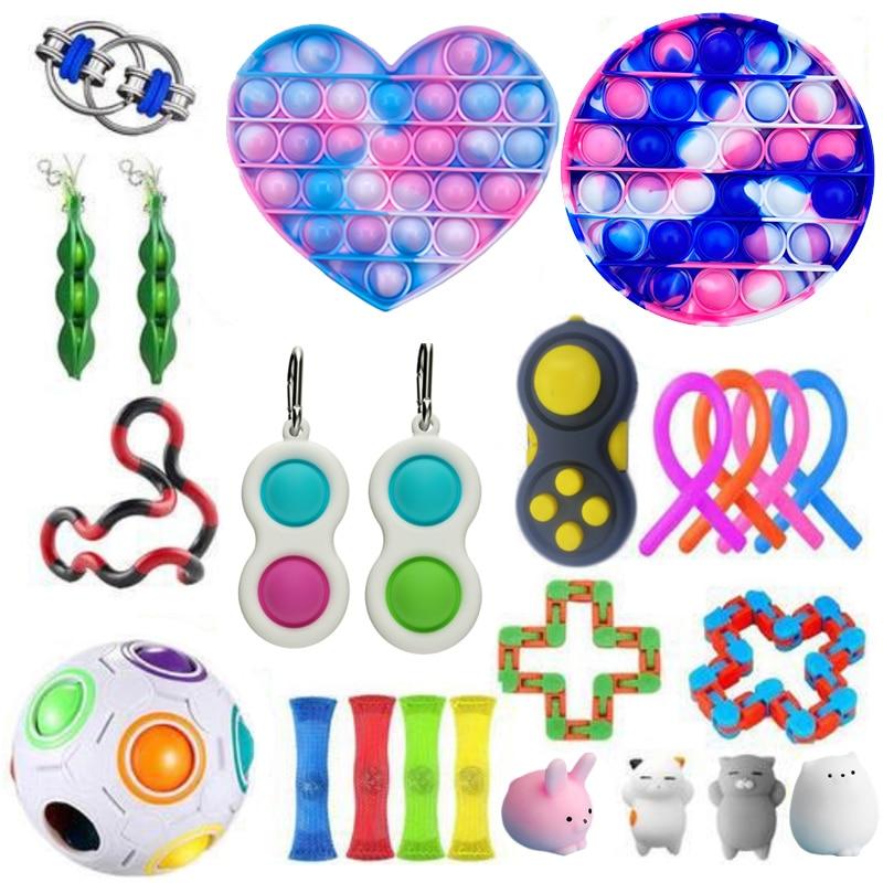 Brinquedos anti stress conjunto stretchy cordas pop it popit presente pacote adultos crianças squishy sensorial antistress alívi enlarge