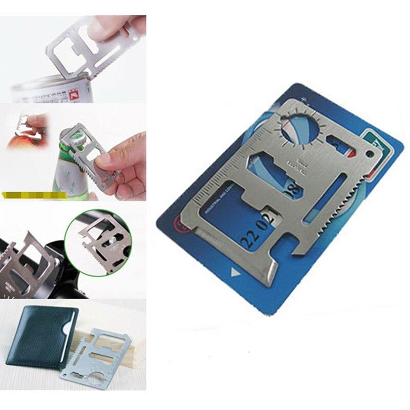 11-in-1 EDC Multi-tool SOS Outdoor Survival Card Multifunctional Pocket Jar Bottle Opener Screwdriver Spanner Ruler