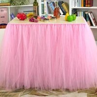 tutu tulle table skirt wedding party tulle tableware cloth baby shower birthday table skirt event banquet table skirting decor