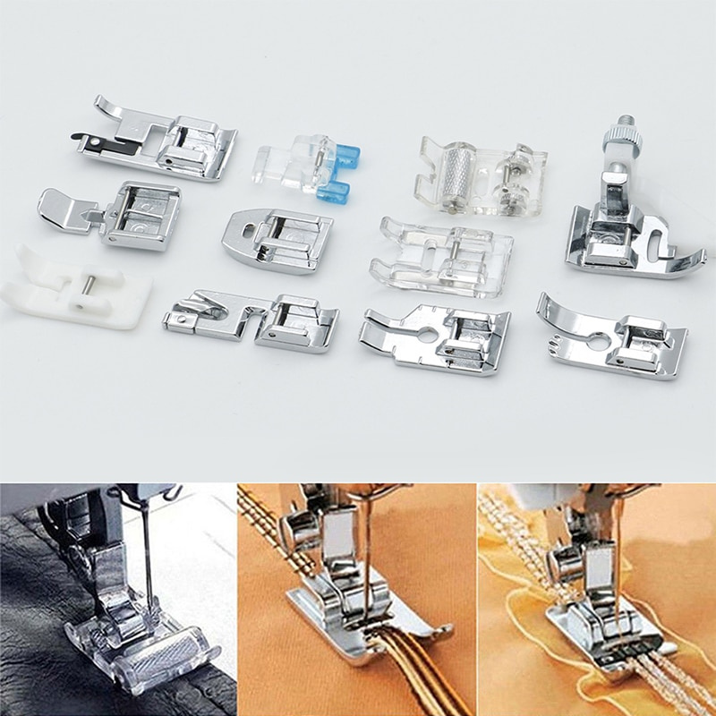 One Set Domestic Sewing Machine Accessories Presser Foot Feet Kit Set Hem Foot Spare Parts For Brother Singer Janome