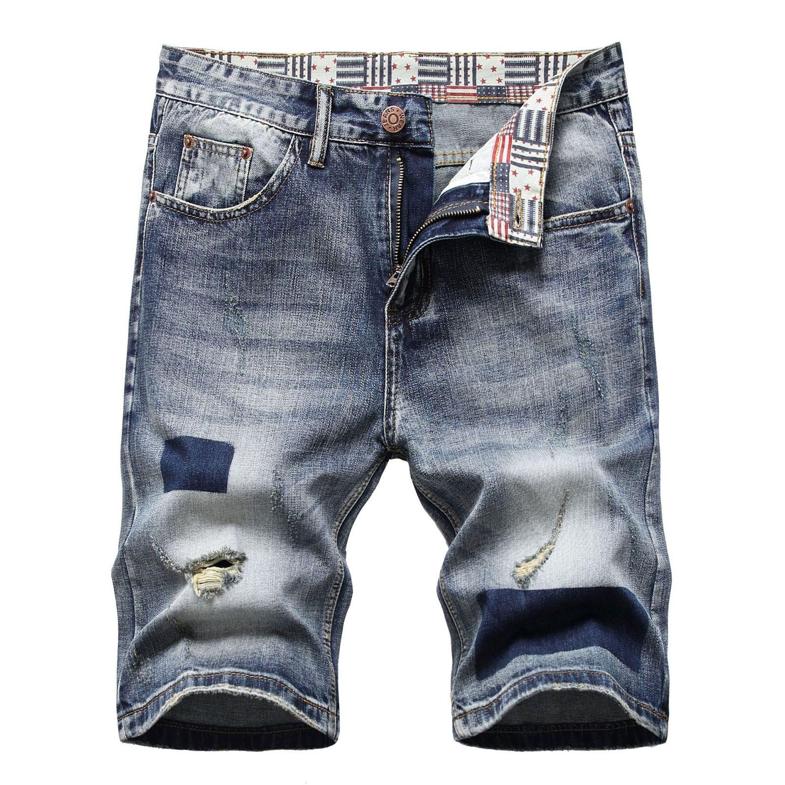 Джинсовые шорты мужские стрейчевые, классические рваные джинсовые брюки до колен, Хлопковые Штаны, ностальгическая уличная одежда, A5, лето