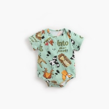 ATUENDO Summer Green Silk Newborn Baby Romper 100% Cotton Fashion Satin Soft Boy Babysuit Kawaii Cut