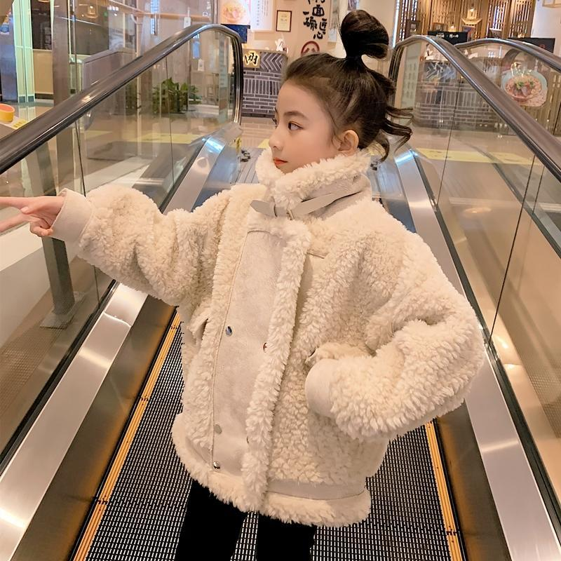 New 2021 Winter Girls Thick Jackets Kids Velvet Warm Stand Collar Long Sleeve Coats Baby Casual Clothes Children Outerwear D156 enlarge