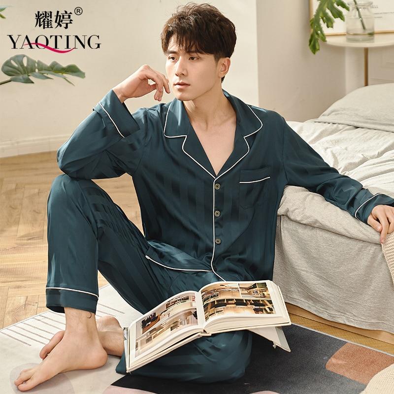 Yao Ting-بيجاما ستان جديدة للرجال ، الربيع والصيف ، بنطلون حريري بأكمام طويلة ، جاكار ، بدلة منزلية رفيعة الطراز