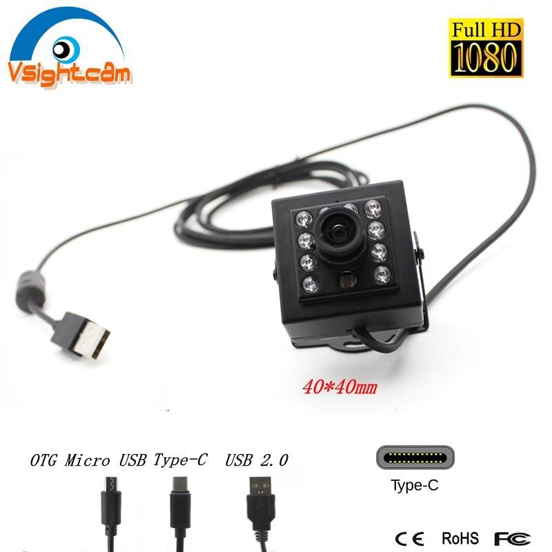 940nm Leds الأشعة تحت الحمراء كاميرا بـ USB OTG المصغّر USB 1080P CCTV الأمن usb 2.0 UVC كاميرا Type-C للرؤية الليلية