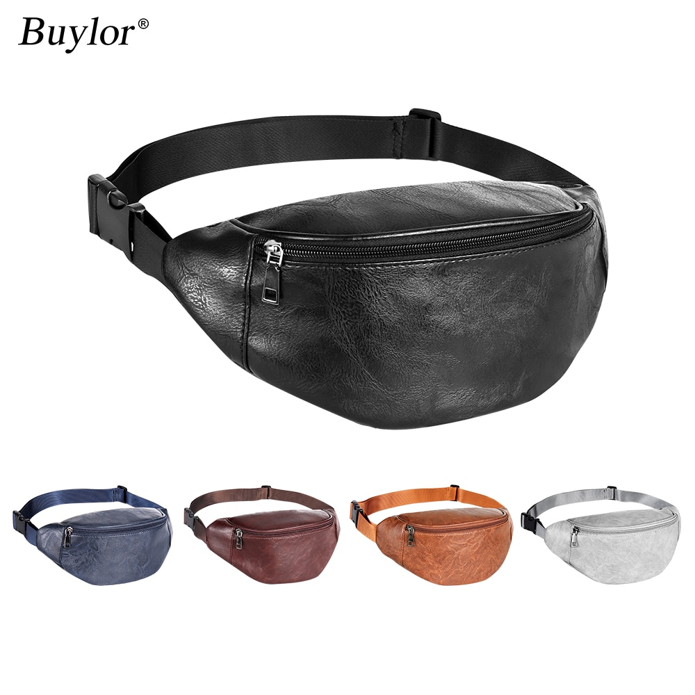 Buylor Fanny Pack Women's Belt Bag PU Leather Waist Bag  Hip Bumbag Men Waterproof Chest Bag  Casual Waist Pack for Outdoors