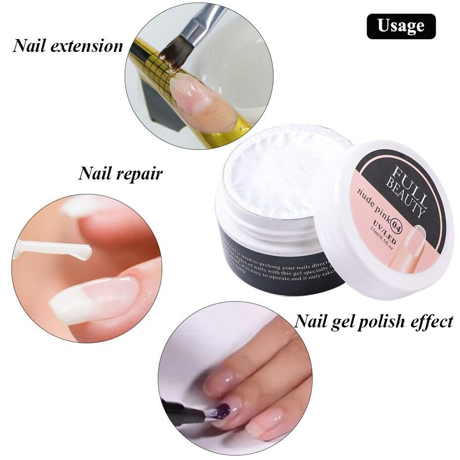 new 15ml Acrylic Gel For Nail Extension Tips Quick Building UV Builder Gel Repair Broken Finger Prol