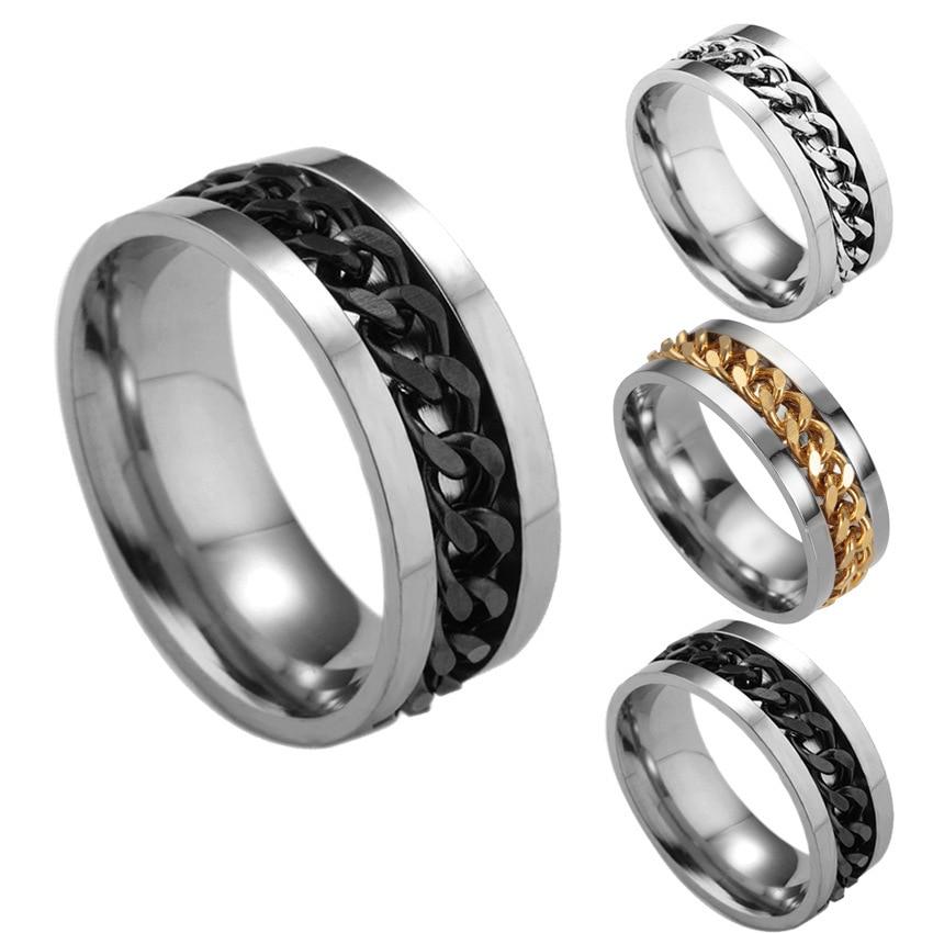 Rings for Man  Male 2020 New Fashion Kpop Chain Rotatable Personality Rings Punk Titanium Steel Ring Harajuku Hip Hop Ring Boys