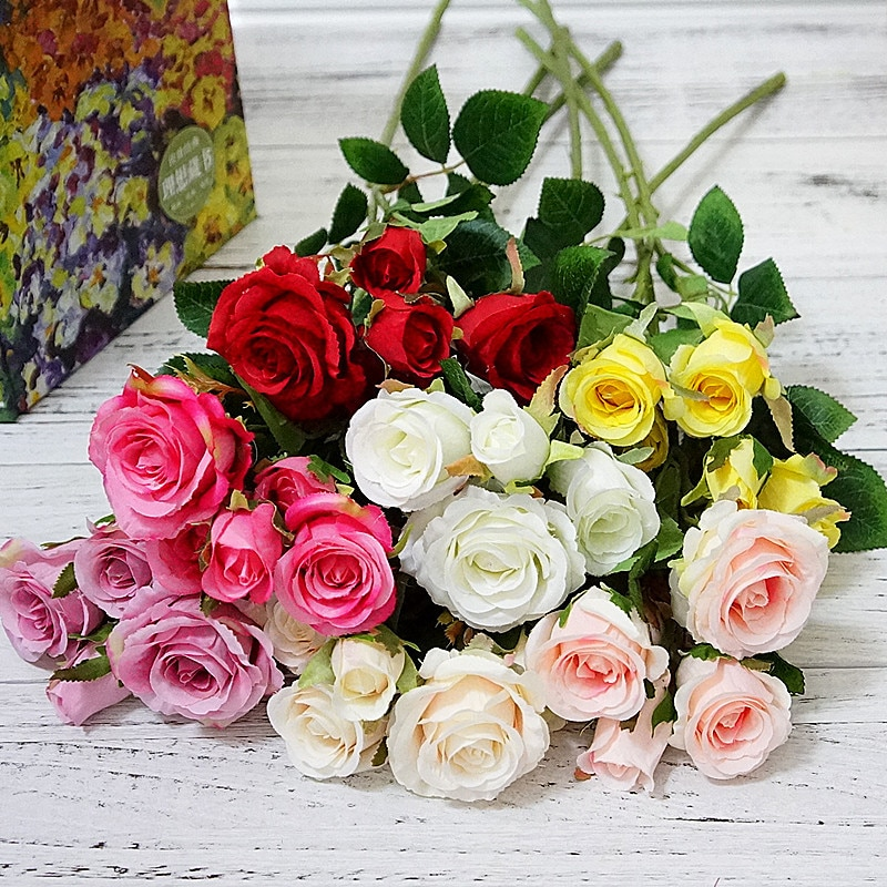 AliExpress - 5 Heads/Bundle Roses Bouquet Wedding Bridal Accessories Clearance Vases for Home Decorative Flowers Scrapbook Artificial Plants