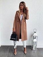 Женское зимнее шерстяное пальто, однотонная Классическая верхняя одежда с длинным рукавом и карманами, женская уличная одежда размера плюс...