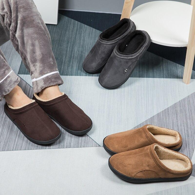 Homens chinelos de inverno curto de pelúcia sapatos quentes homem antiderrapante casa chinelos macios pele me sapatos casuais nova casa chinelos tamanho grande 4950