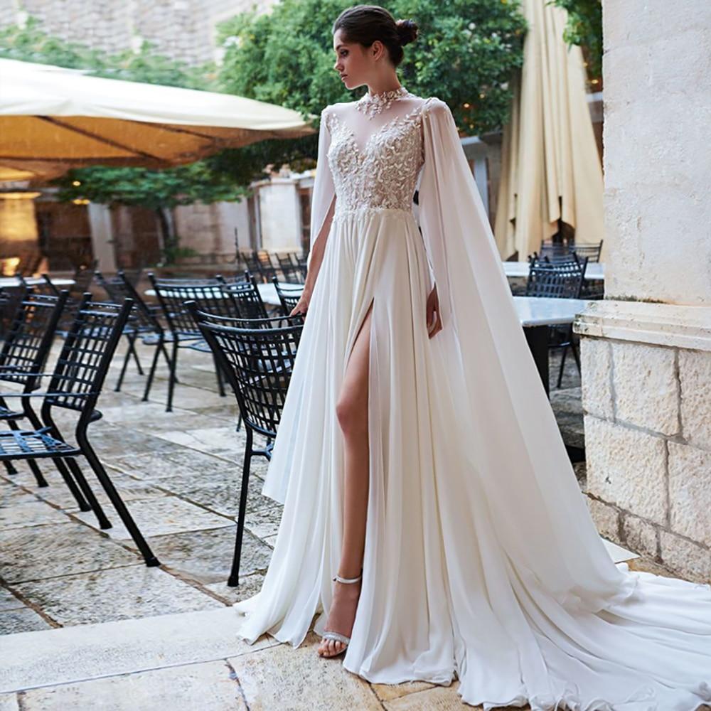 Eightree Lace Appliques Wedding Dresses Chiffon A-Line Bride Gown High Neck Open Back Gowns Split Boho Vestido de noiva