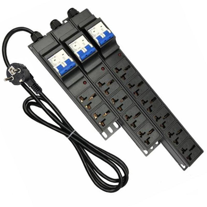Toma de corriente de extensión Industrial 10A 16A 2/4/6/8/10 AC, tira de alimentación Universal PDU con interruptor de aire, enchufe IEC C19/C20
