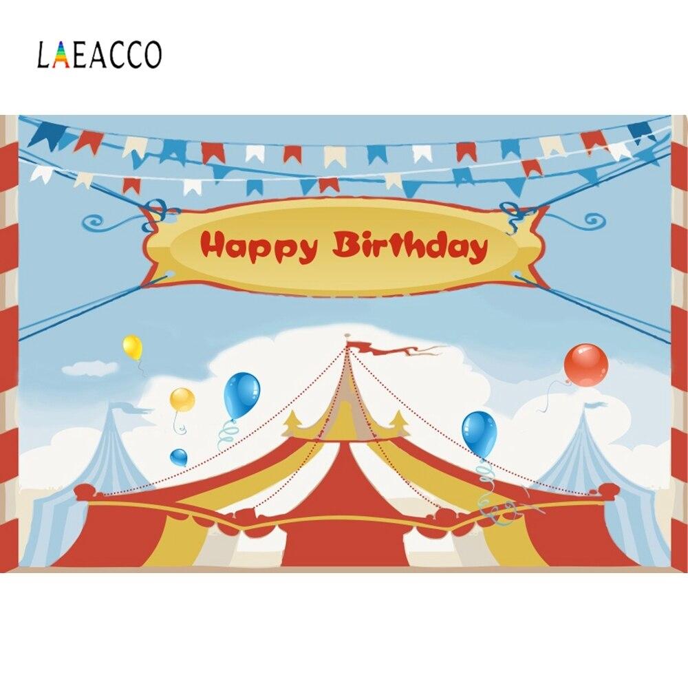 Laeacco день рождения цирк шатер воздушные шары Вымпел ребенок фотографии фоны индивидуальные фотографические фоны для фотостудии