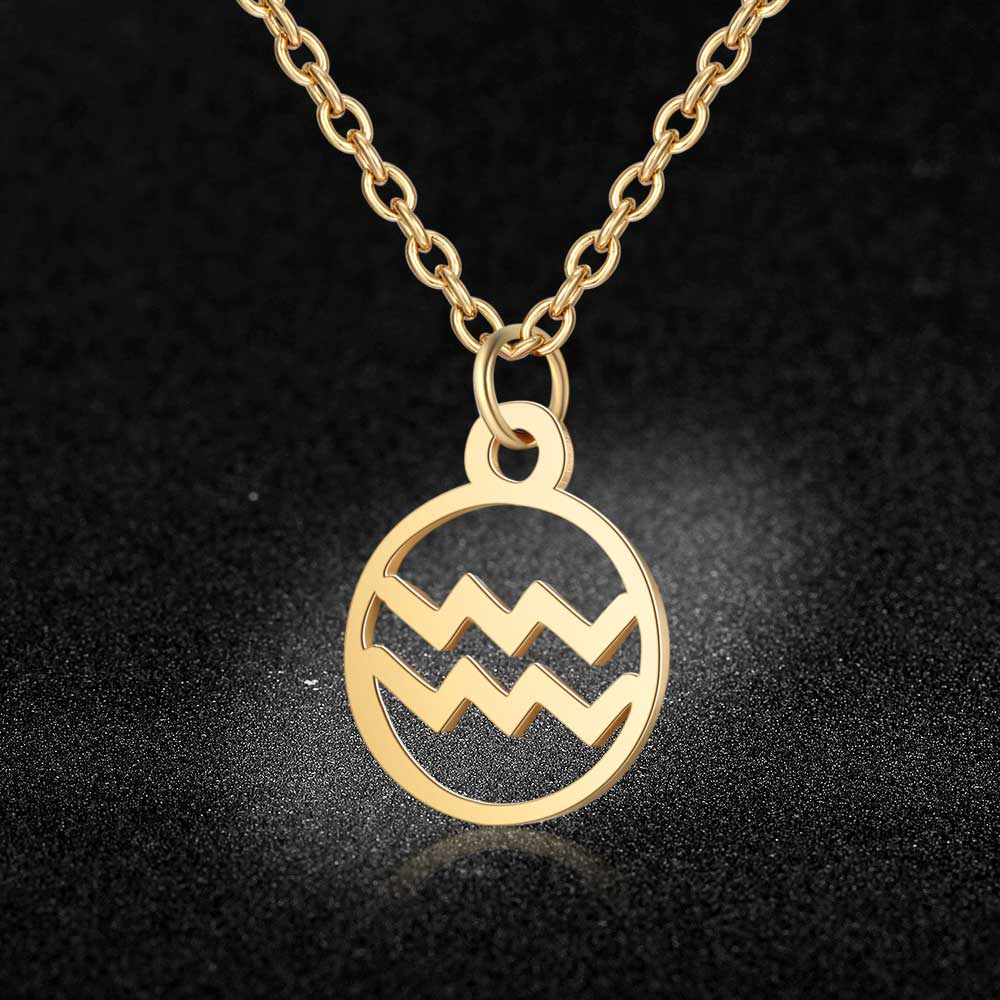 Aaaaa qualidade 100% aço inoxidável ouro cheio 12 constellation zodiac charme colar para as mulheres moda charme colares