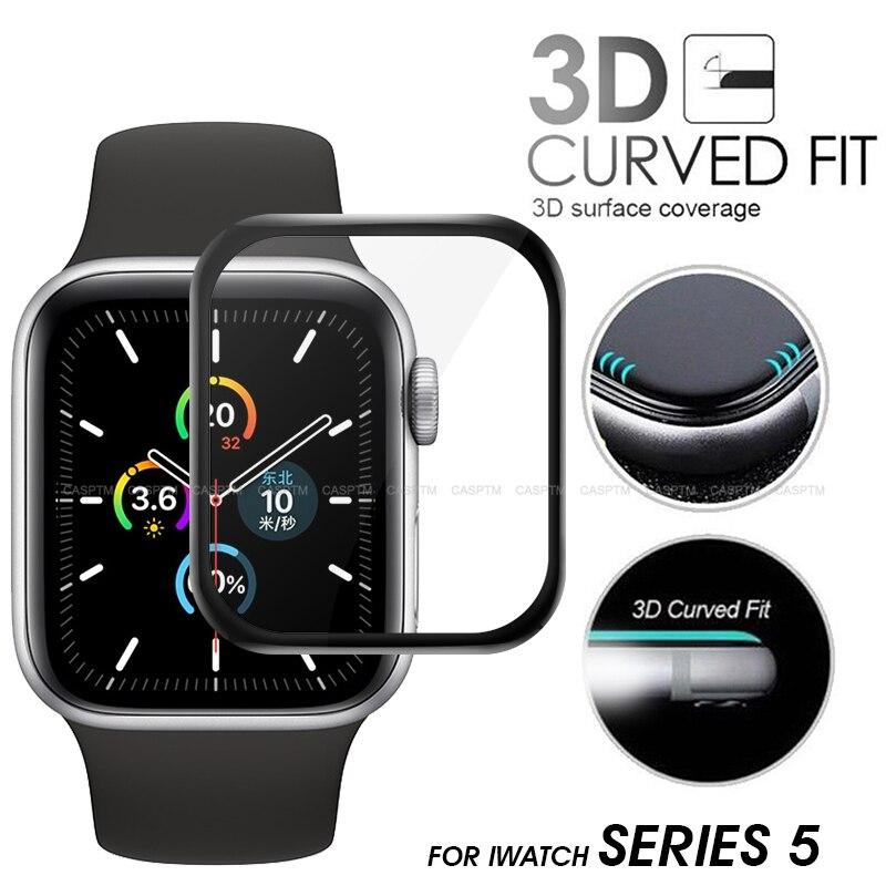 Пленка из закаленного стекла для Apple Watch 5 Группа 44 мм 40 мм полное покрытие 3D закругленные края протектор экрана для iwatch 5 HD аксессуары для час...