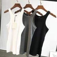 2020 spring rib tank white black sleeveless organic cotton skinny fitted tops tees woman fashion tops
