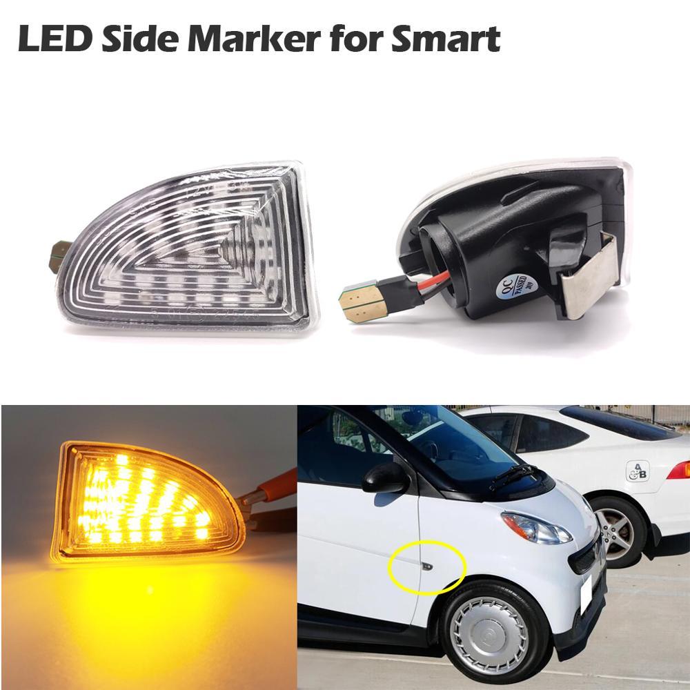 1 par LED de posición lateral ámbar luces de señal de giro para Smart Fortwo 451 MK1 y MKII 2007-2014