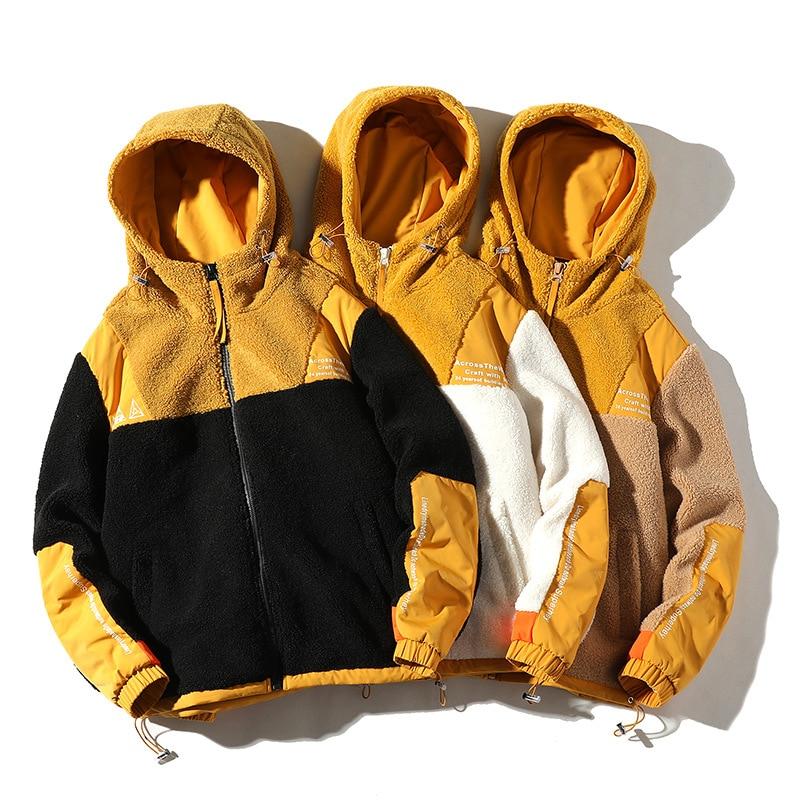 2021 Autumn Winter New Men's Fleece Jacket Fashion Wild Color-Blocking Thick Streetwear Loose Warm Hooded Coat Men Clothing