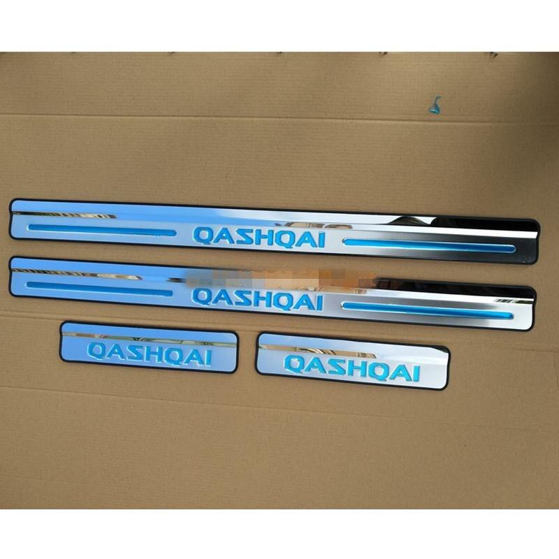 Diseño de coche para Nissan Qashqai 2007-2014 J10 para alféizar de puerta lateral Protector umbral placa de desgaste bienvenida cubre pedales embellecedores