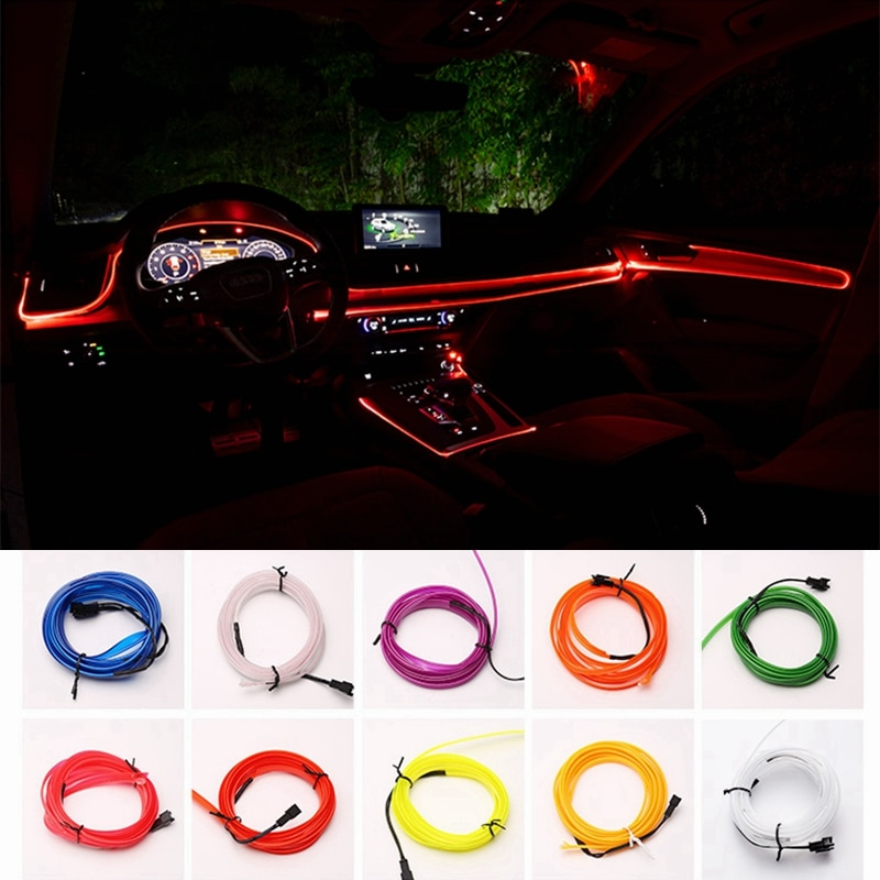 4m car led strips auto decoration atmosphere lamp 12v flexible neon el wire rope indoor interior led car light EL Wire 1M 3M 5M Car Interior Atmosphere Lighting Auto LED Strip Rope Auto Decorative Lamp 12V Flexible Neon Light DIY decor USB