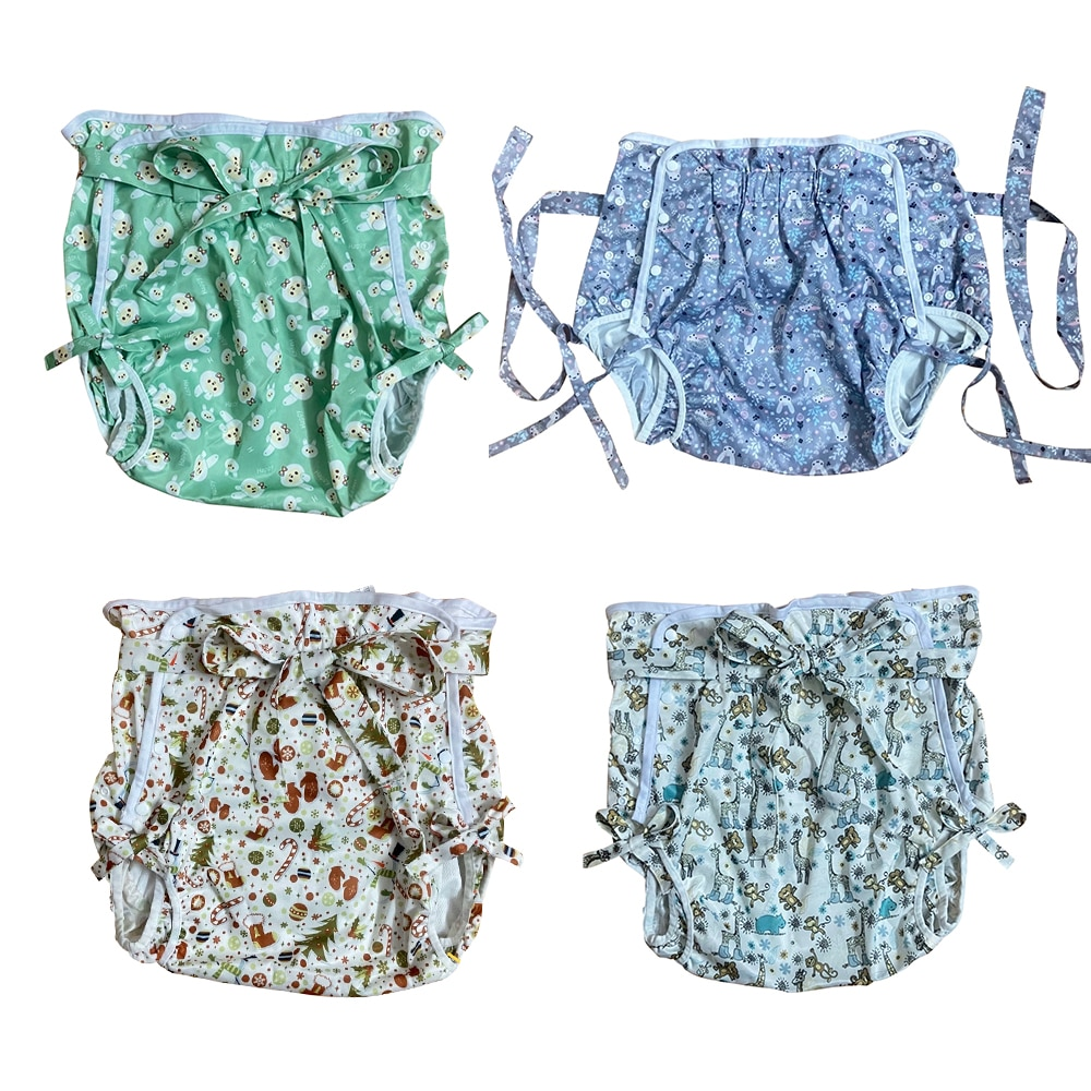 ABDL lace-up Adult diaper pocket Japanese-style special made human baby diapers DDLG repeated use of PVC physiological underwear