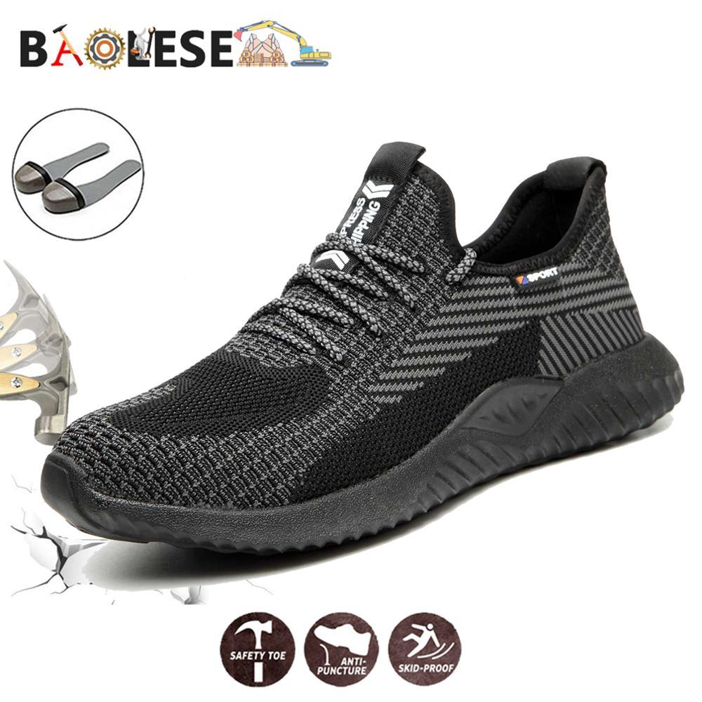 BAOLESEM رجل أحذية أمان أحذية عمل الذكور سلامة الصلب تو حماية تنفس موضة حذاء برقبة للعمل خفيفة الوزن مكافحة تحطيم