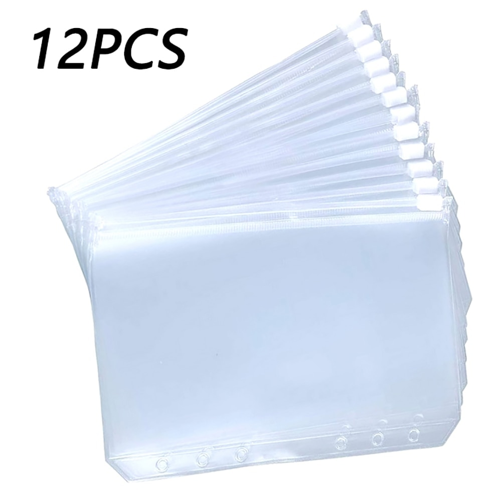 12PCS Binder Pockets A5 A6 A7 Binder Zipper Folders for 6-Ring Notebook Binder Transparent Loose Leaf Pouch Document Filing Bags