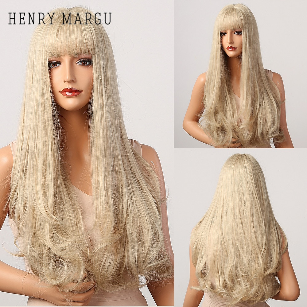 HENRY MARGU Long Natural Wavy Platinum Blonde Wigs with Bangs Cosplay Party Lolita Synthetic Wigs fo