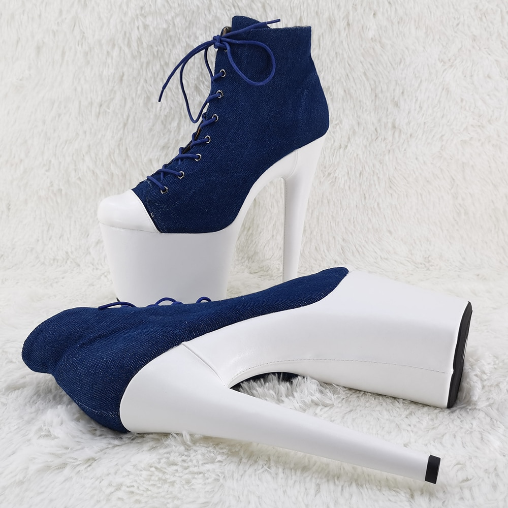 Leecabe  20CM/8inches denim material Pole dancing shoes High Heel platform Pole Dance boot
