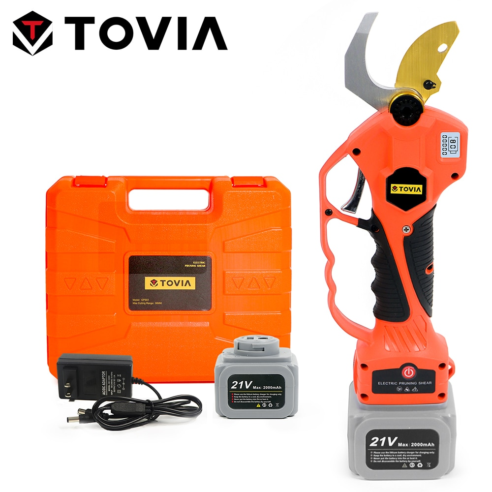 TOVIA 21V Electric Pruner Brushless Cordless Pruning Shear with 2 Battery Efficient Fruit Tree Bonsai Branch Garden Pruning Tool