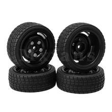 Mxfans 4pcs Square Lattice Shape Tires 5 Holes Rims for RC 1/10 On-Road Car