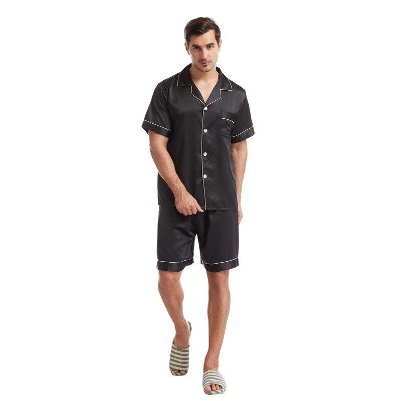 Мужчины% 27 Лето Лацкан Однотонный Цвет Пижамы Матовый Атлас С короткими рукавами Повседневный Плюс Размер Дом Сервис Костюм