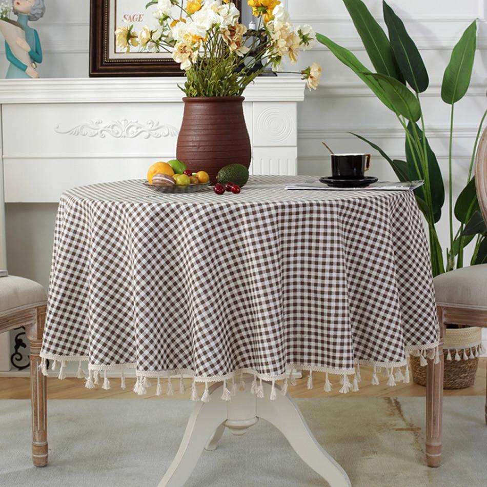 الحديث شعرية مهدب القطن والكتان القهوة المستديرة مفرش المائدة قابل للغسل تصميم المنزل طاولة القهوة ديكور الحفلات مفرش المائدة