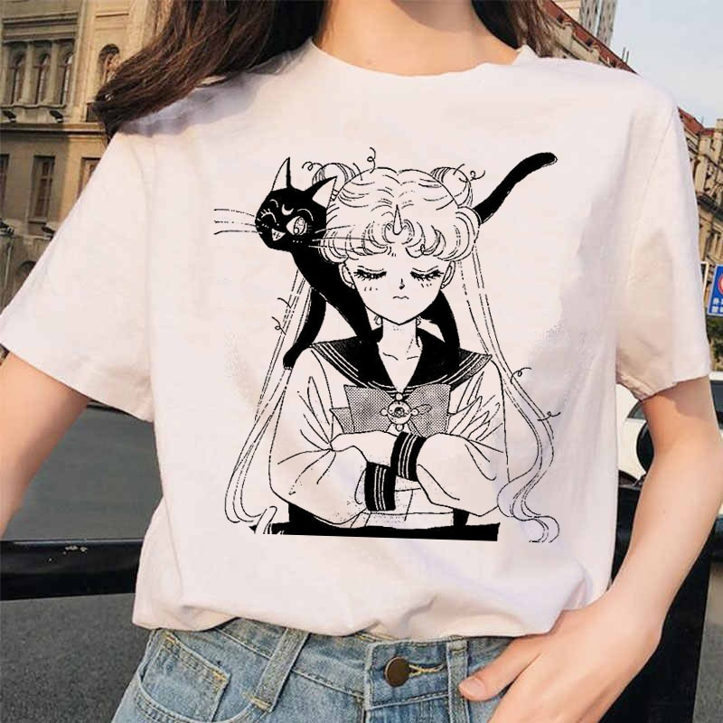 Sailor Moon Kawaii camiseta de mujer Harajuku manga corta divertida Ulzzang camiseta 90s moda gráfico Tops camisetas ropa femenina