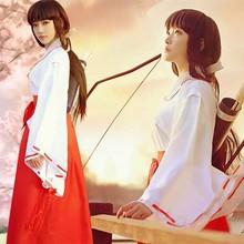 Inuyasha Kikyo Miko Kimono Cosplay Kostuum Japanse Heks Kostuum Vrouwen Witte Kimono Rode Hakama Broek Outfit Halloween Kostuum