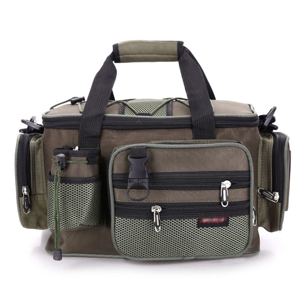 Bolsa de pesca multifuncional, cebo de pesca, aparejo, bolso, bolsa de cintura espaciosa, funda para accesorios de pesca